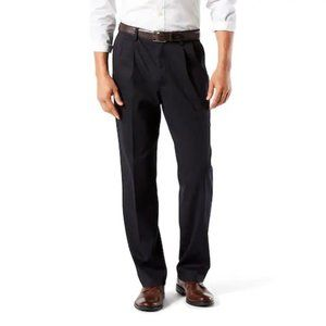 DOCKERS NAVY BLUE EASY KHAKI CLASSIC FIT PLEATED